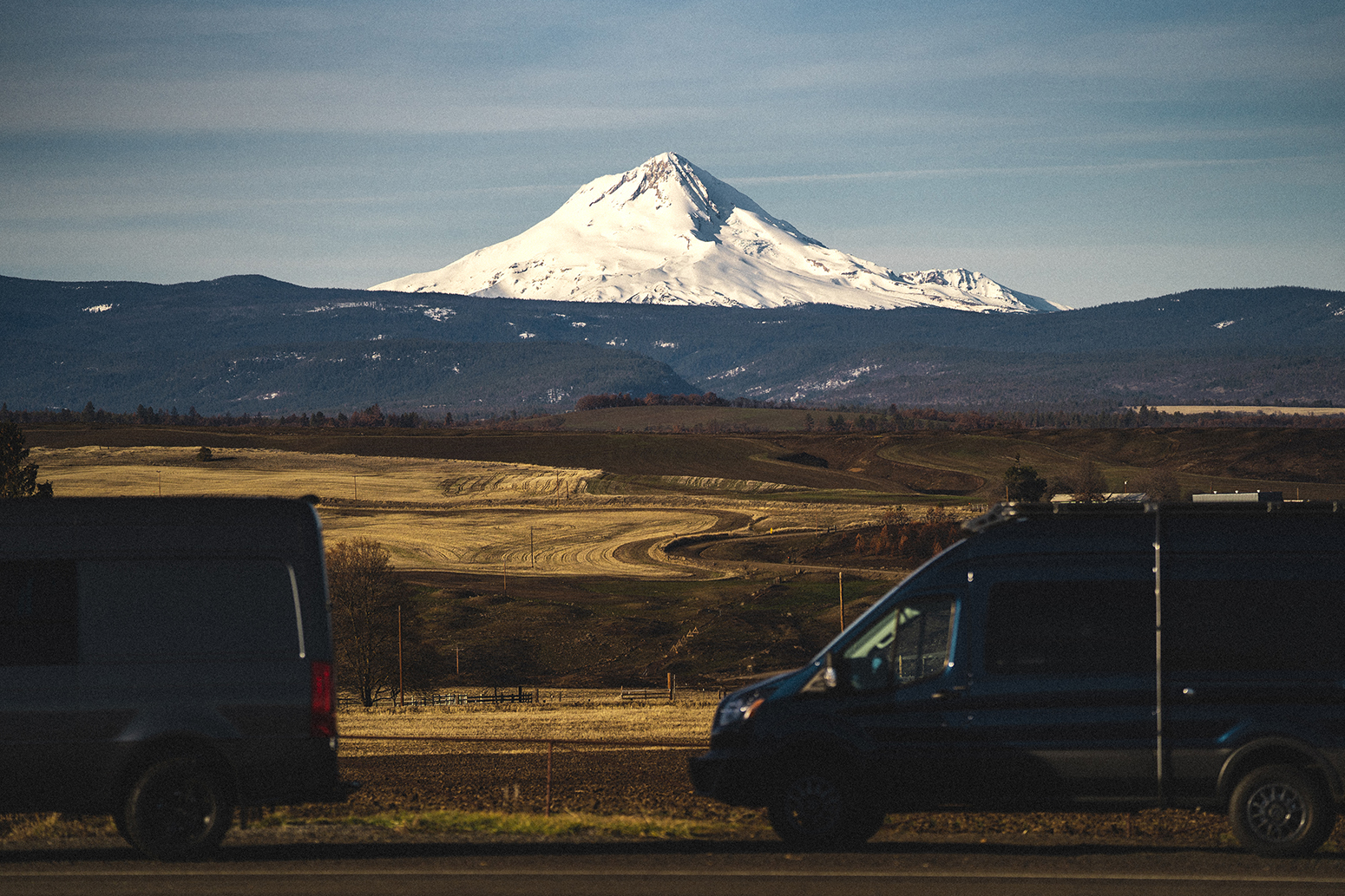 Sprinter vans with Mount Hood in the background